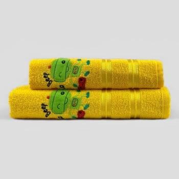 Jogo Toalhas de Banho Infantil Bordadas 100% Algodão Robô - Amarelo