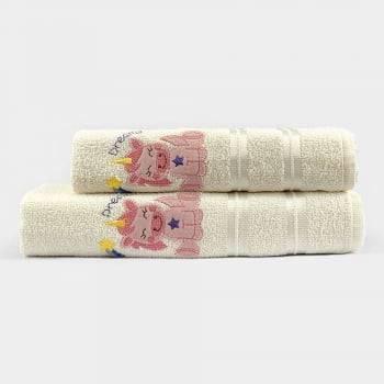 Jogo Toalhas de Banho Infantil Bordadas 100% Algodão Unicornio - Off White