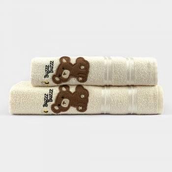 Jogo Toalhas de Banho Infantil Bordadas 100% Algodão Ursinho - OffWhite