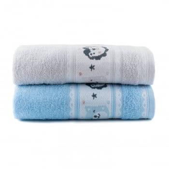 Toalhas de Banho Infantil Puppy Jogo com 2 Peças Azul - Dianneli