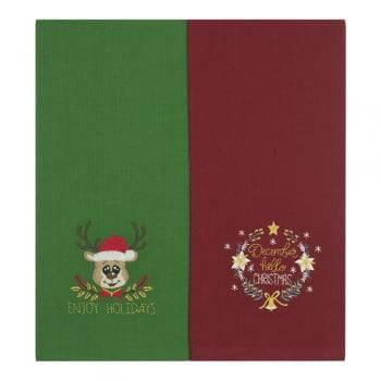 Jogo Copa Luiza Bordado Natal Hello Christmas Verde e Vermelho 2 peças