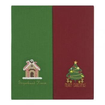 Jogo Copa Luiza Bordado Natal Merry Christmas  Vermelho e Verde - 2 peças