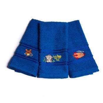 Kit Toalha Lavabo Escolar Infantil Bordada (Lancheira) Azul