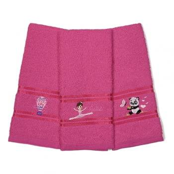 Kit Toalha Lavabo Escolar Infantil Bordada (Lancheira) Pink