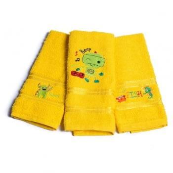 Kit Toalhas Lavabo Escolar Infantil Bordada (Lancheira) Amarelo