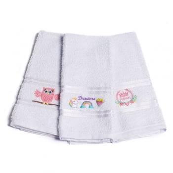 Kit Toalhas Lavabo Escolar Infantil Bordada (Lancheira) Branco