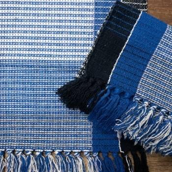 Jogo 3 Tapetes de Cozinha Algodão Veneza Mesclado Azul Marinho