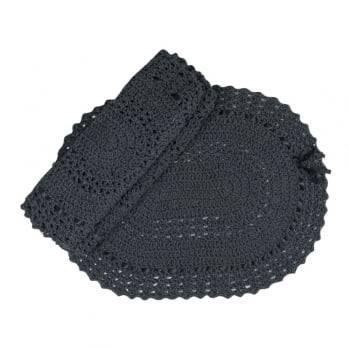 Jogo de Banheiro 3 peças Artesanal Crochê 100% algodão Grafite- Casa Encanto