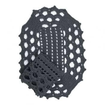 Jogo de Tapete Crochê 2 peças Cinza