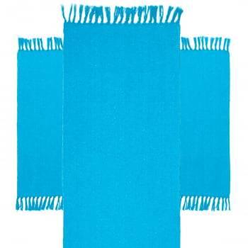 Kit de Cozinha 3 Peças Algodão Caraibeiras Liso Azul Claro