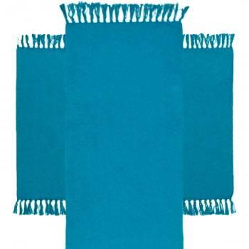 Kit de Cozinha 3 Peças Algodão Caraibeiras Liso Azul Petroleo