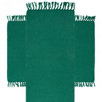 Kit de Cozinha 3 Peças Algodão Caraibeiras Liso Verde Escuro