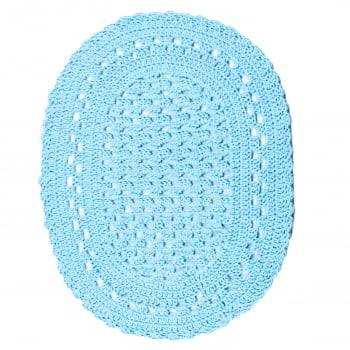 Jogo Tapete 2 peças Crochê Oval Minas Azul