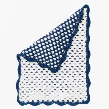 Tapete Retangular 75x60 Crochê Duplo Favo de Mel Artesanal Azul