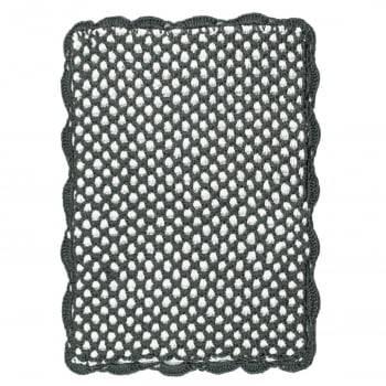 Tapete Retangular 75x60 Crochê Duplo Favo de Mel Artesanal Chumbo