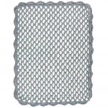 Tapete Retangular 75x60 Crochê Duplo Favo de Mel Artesanal Cinza