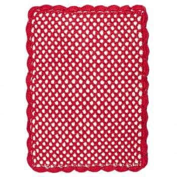 Tapete Retangular 75x60 Crochê Duplo Favo de Mel Artesanal Vermelho