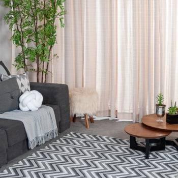 Tapete Pequeno para Sala ou Quarto Oslo Antiderrapante 1,46m x 1,00m - Preto c/ Cinza